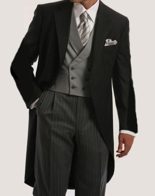 Morning Style One Button Black Groom Tuxedos Groomsmen Mens Wedding Suits Prom Dress (Jacket+Pants+Vest+Tie) NO:199