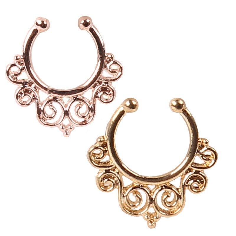 2015 NEW fake nose ring Clip On Fake Septum Clicker Non Piercing Nose Ring Hoop gold nose piercing is a hoax
