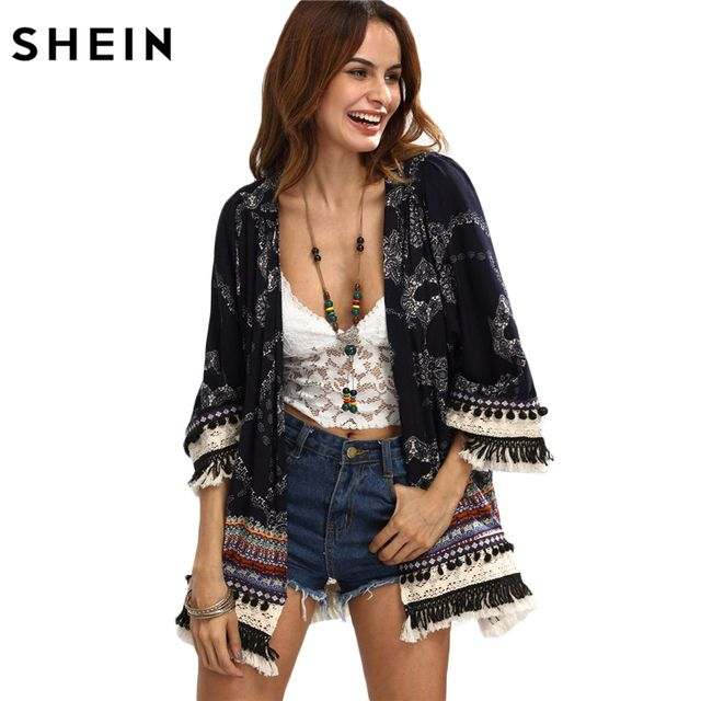 SHEIN Casual Womens Tops for Summer Ladies Three Quarter Length Sleeve Multicolor Print Fringe Pom-pom Decorated Kimono