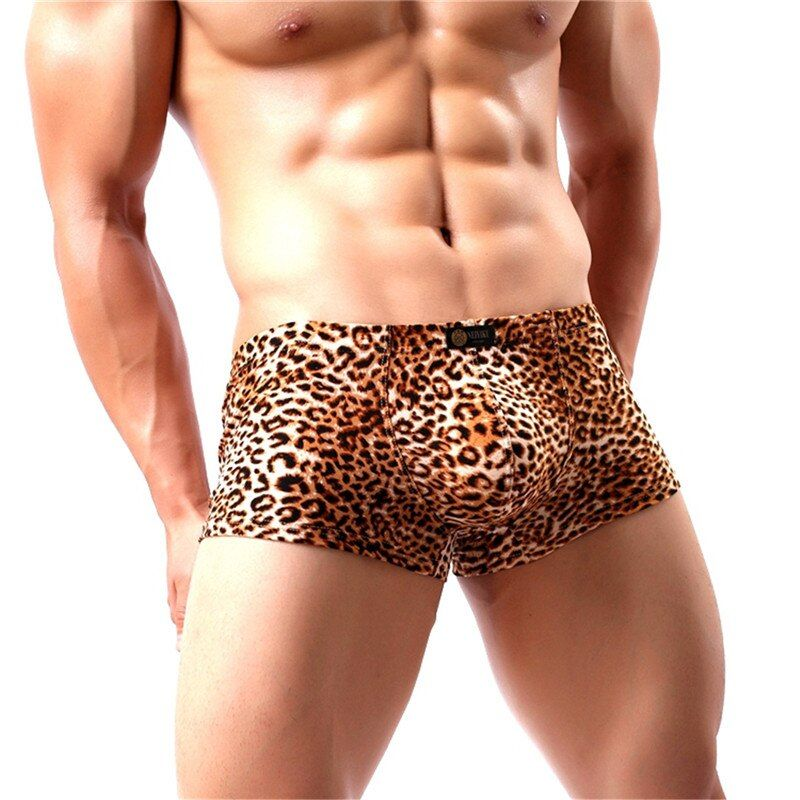 Men's Boxer Shorts Bugle Pouch Slip Homme Leopard Printed Boxers Panties Sexy Low Rise BoxerShorts Underwear Gay Underpants