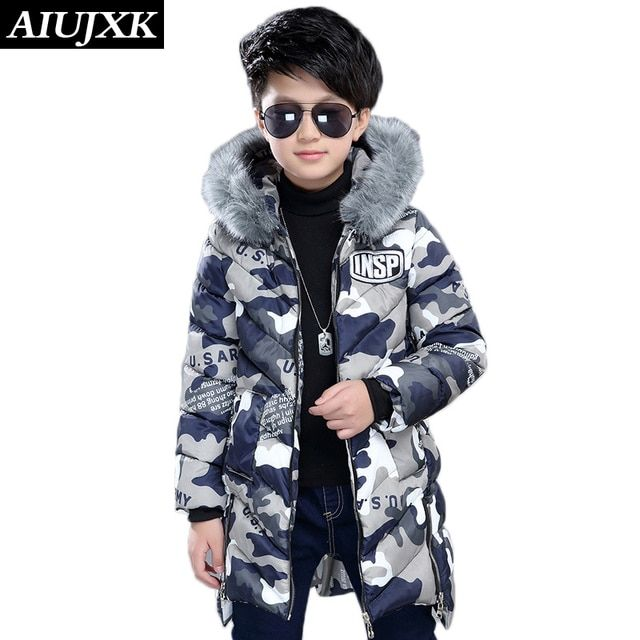 New Fashion Camouflage Boys Winter Coats Warm Thickening Coat Children'S Winter Cotton Clothing -30 Degree OUMU302