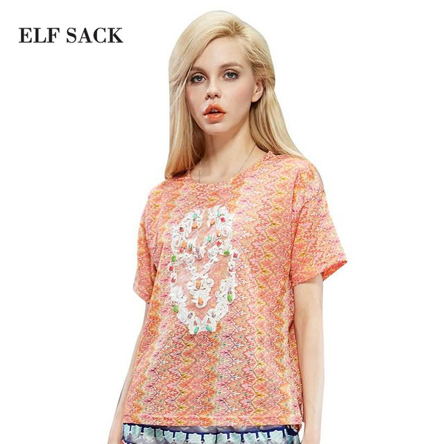 ELF SACK fashion brand 2016 spring summer women embroidery applique beading print sweet lace shirt o-neck free shipping