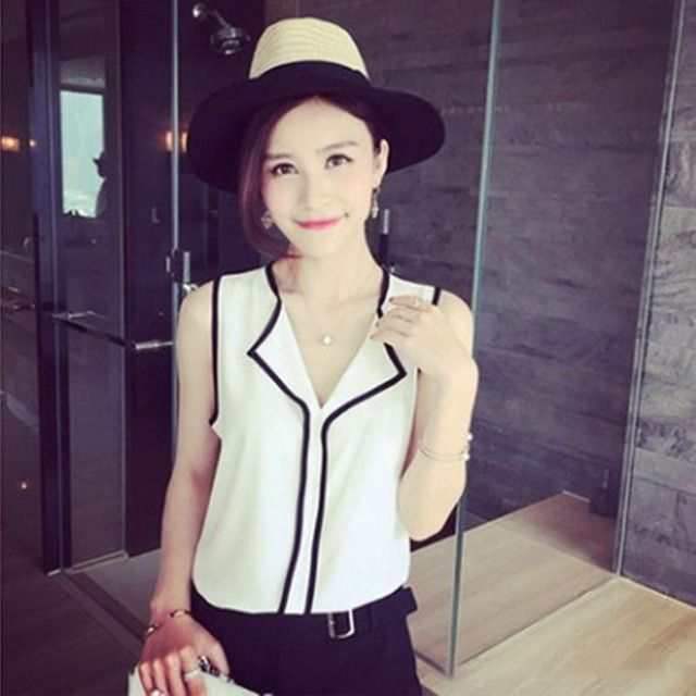 2018 New Fashion Women's Sleeveless Black Side Chiffon Blouses Work Wear Ladies Tops Womens Casual White V Neck Blouse Shirt