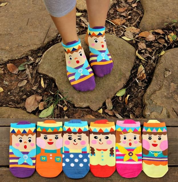 6 color Women Cotton Party Cartoon  Breathable brief knit ankle Cute & low beauty kawaii Boat Socks 6pair 1 lot