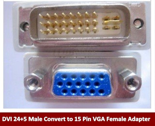 Free shipping+wholesale 50pcs/lot  DVI 24+5 Male Convert to 15 Pin VGA Female Adapter