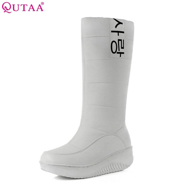 QUTAA 2018 Western White PU leather+Down Mid-Calf Round Toe Wedge Med Heel Boots Women Snow Boots Wedding Snow Boots Size 35-40