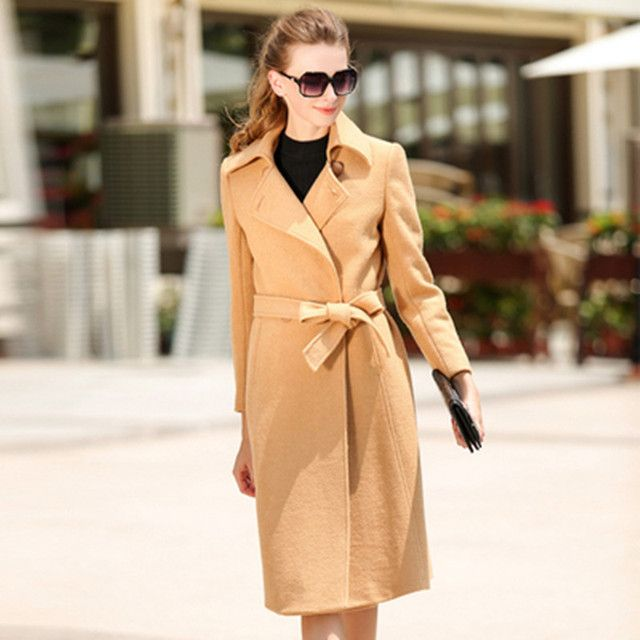 Free shipping 2016 new Autumn winter high quality  Fashion  turndown collar  women woolen coat  female Bandage long trench coat