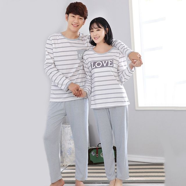 Couple Sleepwear Sets Spring Autumn Lovers Long-sleeved Pajamas Set Stripe Nightwear Loungewear Casual Cotton Home Clothes