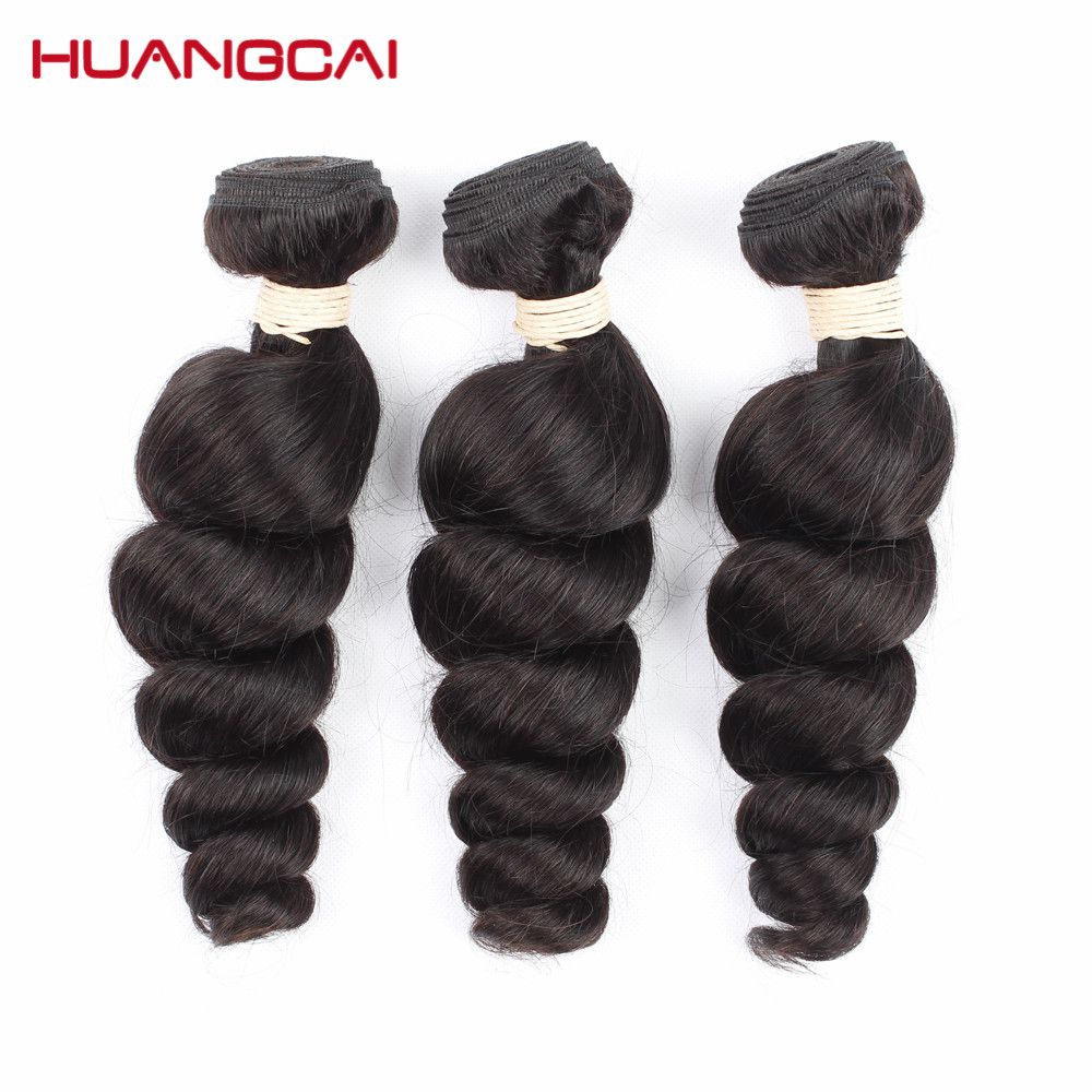 Huangcai Peruvian Hair Bundles Loose Wave Natural Color 100% Human Hair Weaving 8 to 28inch Free Shipping Can Be Dyed Non remy