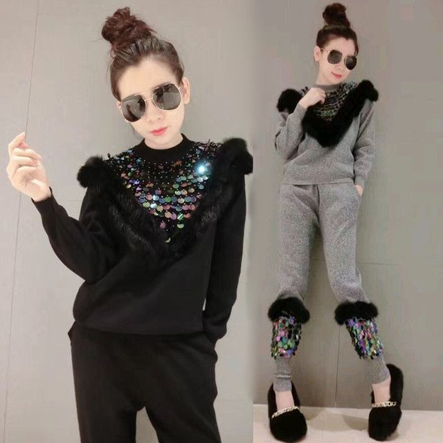 2017 New Arrival Limited Tracksuits Autumn And Winter Fashion Sportswear Rabbit Hair Knitted Leisure Two Piece Female Sequins