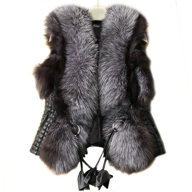 New Fund Sell Like Hot Cakes The European And American Autumn/winter Vest Imitation Silver Fox fur Vest Coat Short Female Fur