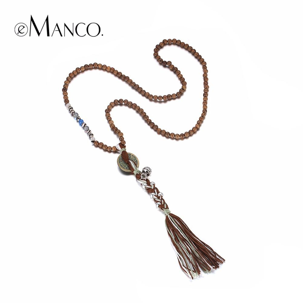 eManco Natural Ethnic Handmade Long Tassel Strand Necklaces & Pendants Women Wood Beads Coin Stone Ancient Bronze Plated Jewelry