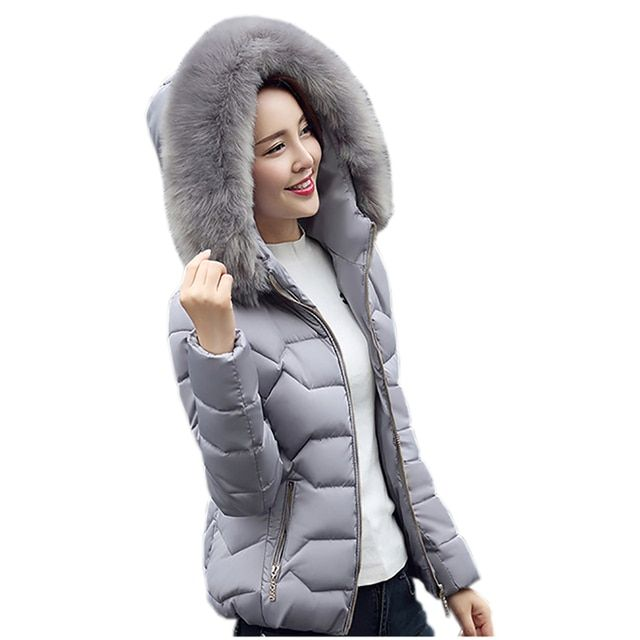 Warm Down & Parkas Coat 2016 Winter New Women Faux fur Collar Thick Outover Female Hooded Slim Short  Down Jacket Coat M0562
