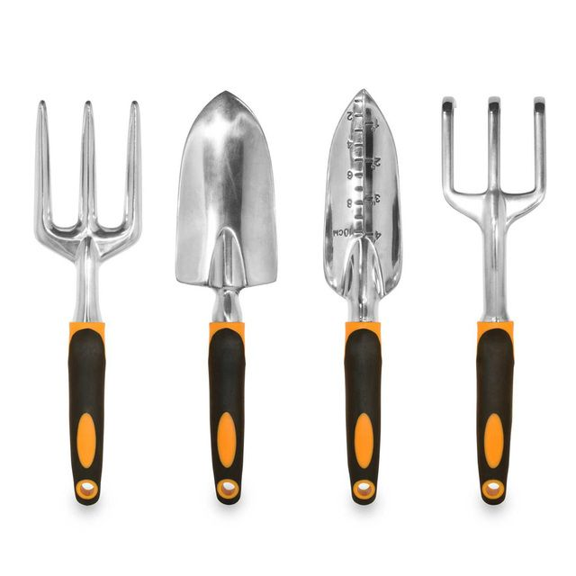 4pcs/lot Garden Hand Tool Kit Plant Gardening Shovel Rake Fork Trowel Tool Set Wood Handle Metal Head Gardener Hot