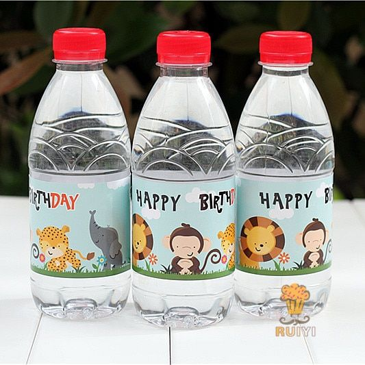 24pcs Wild Animals Lion water bottle label candy bar decoration kids birthday party supplies baby shower party favor AW-0619