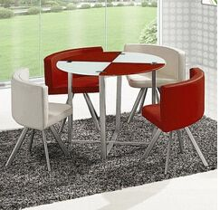 Glass dinner table. Milk tea shop reception desk and chair. Small family dining table