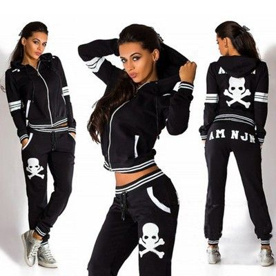 New Skull Printing Sportwear Suits Women Black Autumn Long Sleeve Hoody Clothing Sportwear 2 Piece Set Casual Cotton Tracksuits