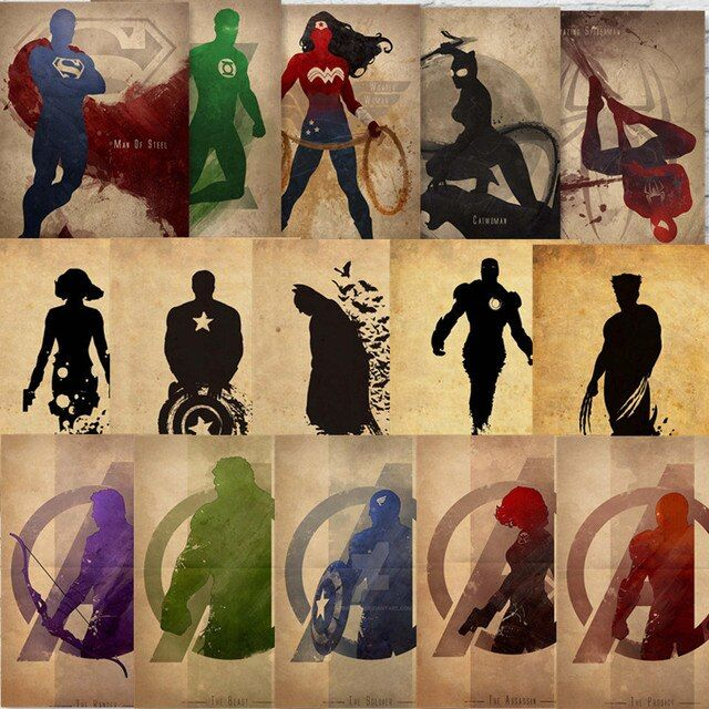 Superheros Posters Marvel DC Comics Prints Vintage Home Wall Decoration Kraft Paper HOME ART   Brand  MO58