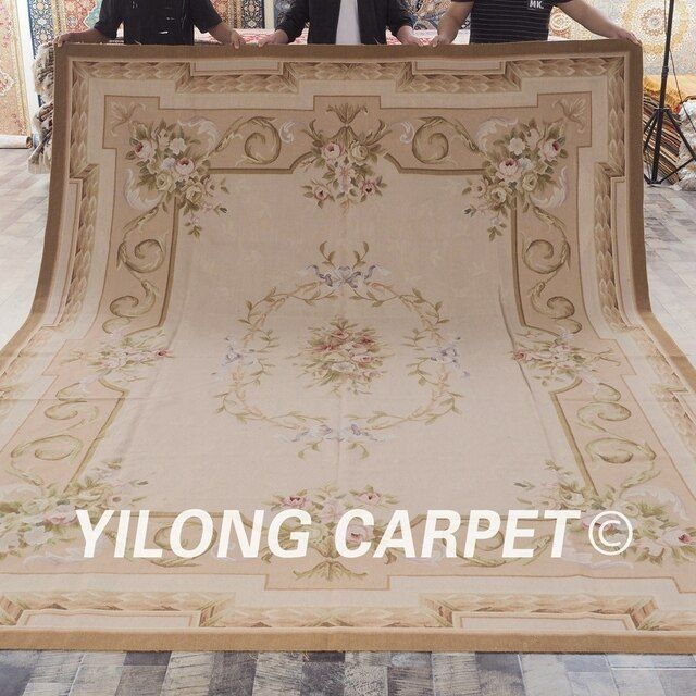 Yilong 9'x12' Customized flat woven hand made french aubusson carpet (W34C9x12)