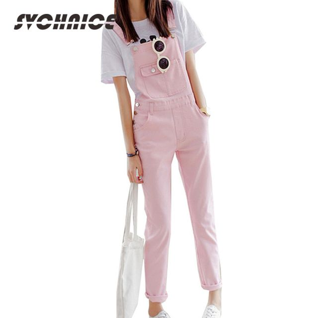 New Preppy Style Denim Jumpsuit Jean Overall For Womens Denim Romper Jeans Pants Summer Fitness Ladies Jumpsuit White/Pink