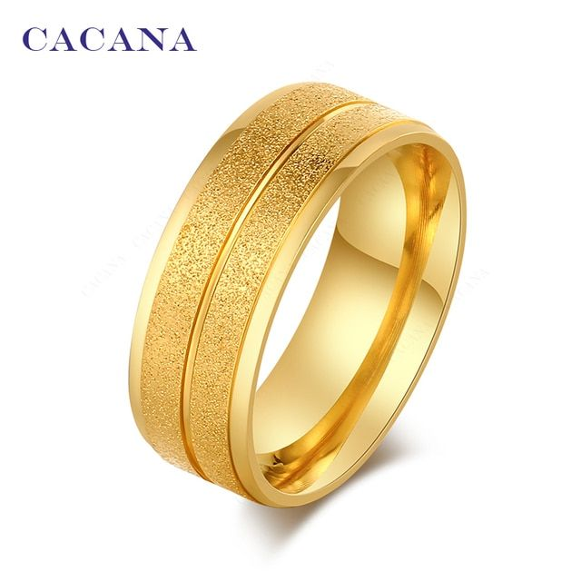 CACANA Stainless Steel Rings For Women  Double Bright Lines Fashion Jewelry Wholesale NO.R50
