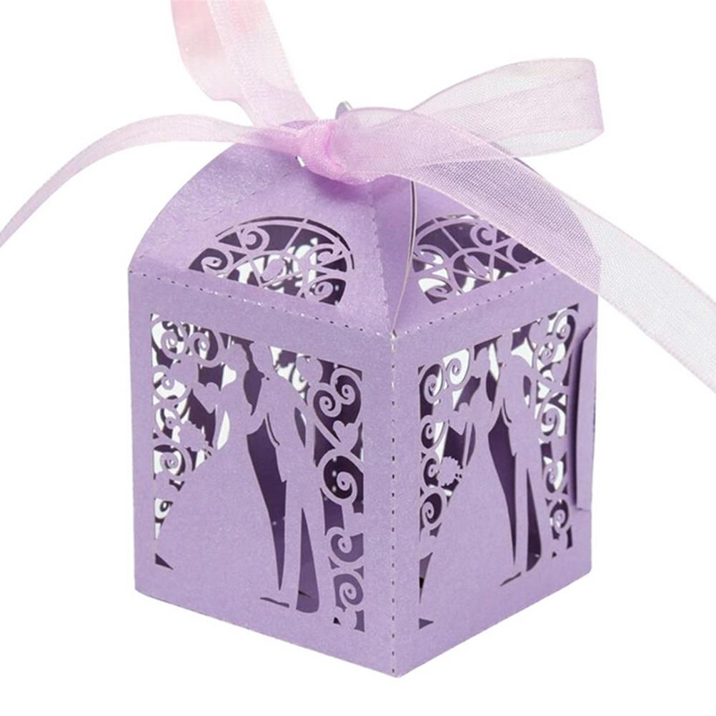 50 Pcs/set 5 Colors bride and groom Shape Wedding Candy Box Sweets Gift Favor Boxes With Ribbon new year