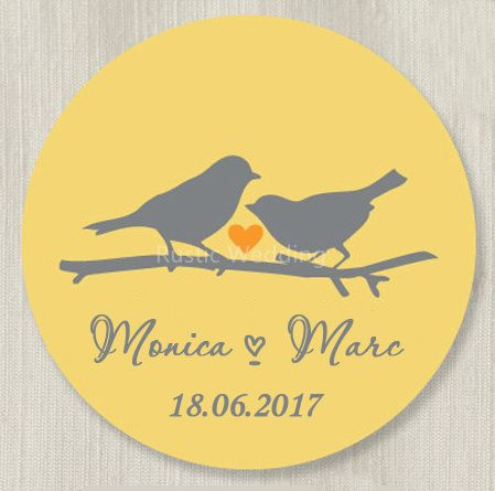 Custom Wedding Stickers - Love Birds Favor Labels Mason Jar Label Personalized Wedding Favor Gift Stickers,Hershey Kiss Stickers
