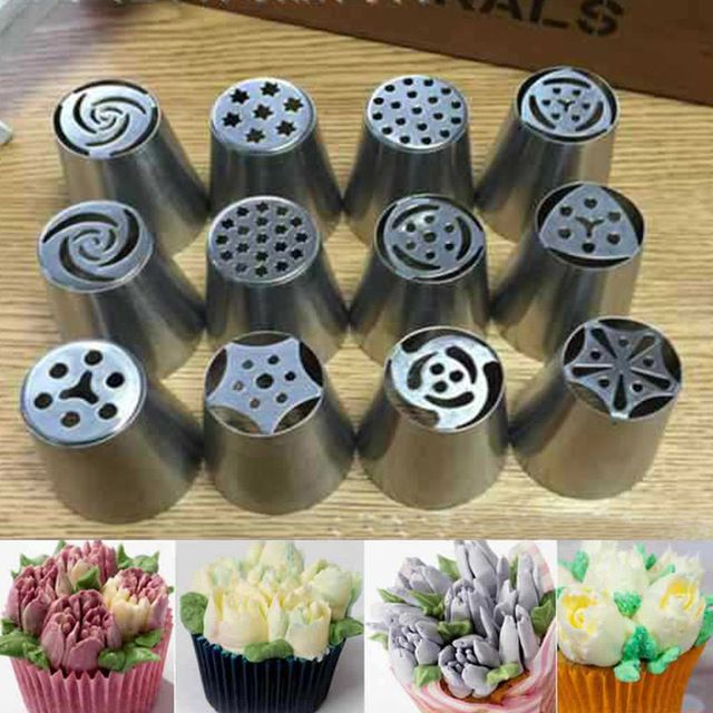 1PC Stainless Steel Tulip Nozzle Rose Flower Russian Piping Tips Nozzles Decoration for Cake DIY Icing Piping Nozzles