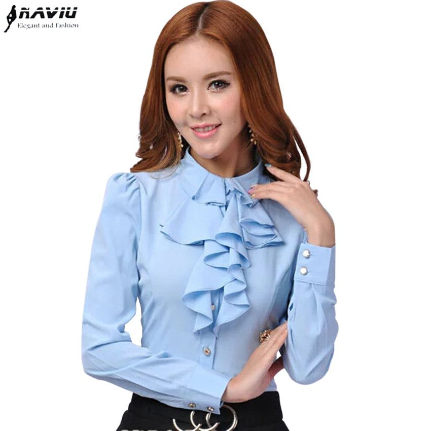 New autumn Elegant women long sleeve chiffon shirt office Ladies Business slim blouse plus size work wear ruffle tops