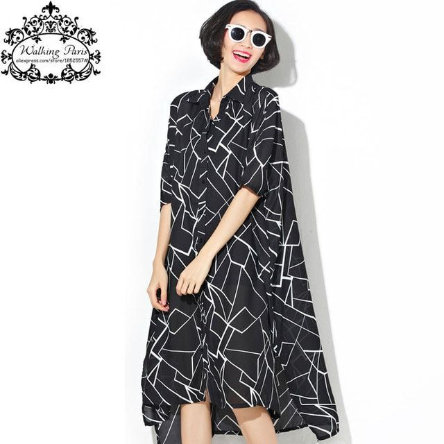 Plus Size Women's Dress Chiffon Blouse Black Dresses Summer Fashion Batwing Sleeve Large Big Size Striped Loose Female Clothing