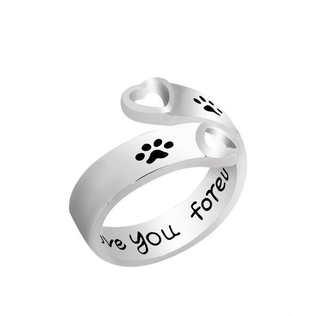 "Fashion Hollow Pet Dog Paw Foot Print Ring Carved "" I will love you forever "" Dogs Footprints Claws Love Heart Rings For Women"