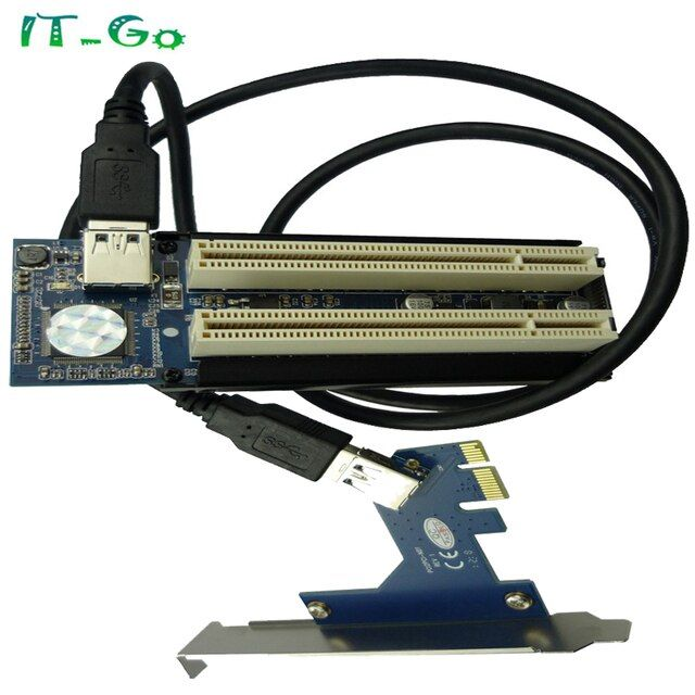 PCIe x1 x4 x8 x16 to Dual PCI slots adapter pci express to 2 pci card With USB 3.0 Extender Cable ADP09925