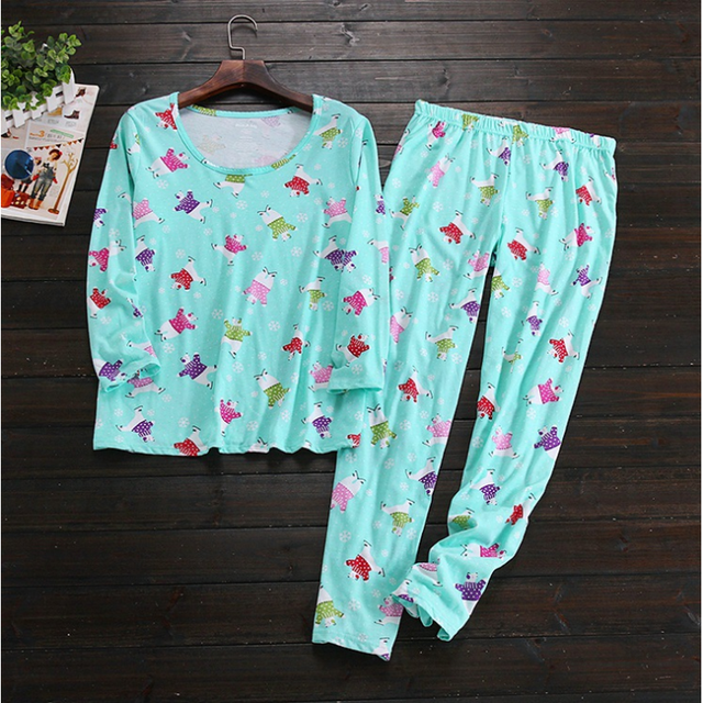 2017 Spring Brand Homewear Women Casual Cartoon Pajama sets Female Soft Cotton Sleepwear suit Laides Long sleeve shirts + pants