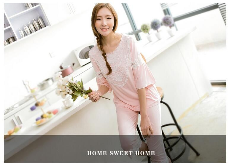Free shipping.Original Top quality women's sexy Pajamas sets,girl's lace sleeping clothes,spring style home bamboo fiber