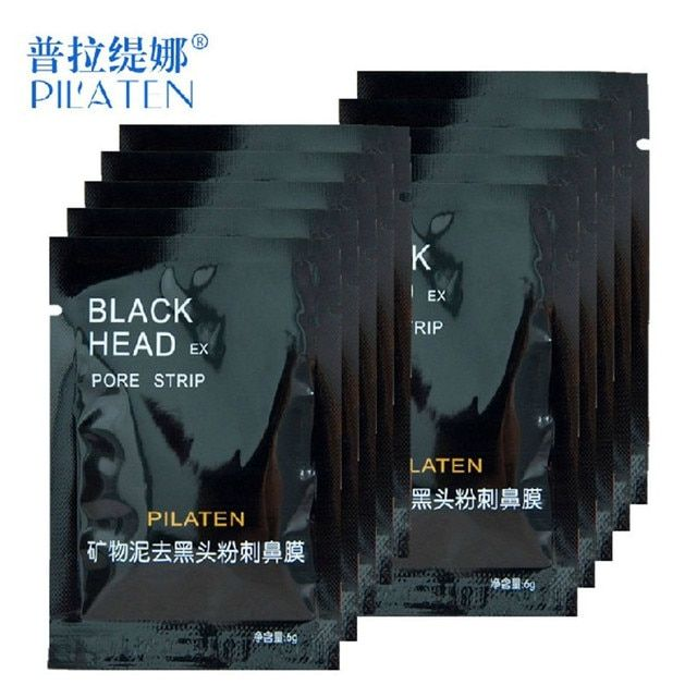 10pcs/lot Face Care PILATEN Nose Facial Blackhead Remover Mask Minerals Pore Cleanser Black Head EX Pore Strip