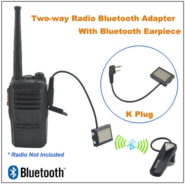 Walkie Talkie Two-way Radio Bluetooth Adapter K Plug W/ Bluetooth Earpiece for Baofeng UV-5R,Puxing PX-888K,TYT,WOUXUN  Radio