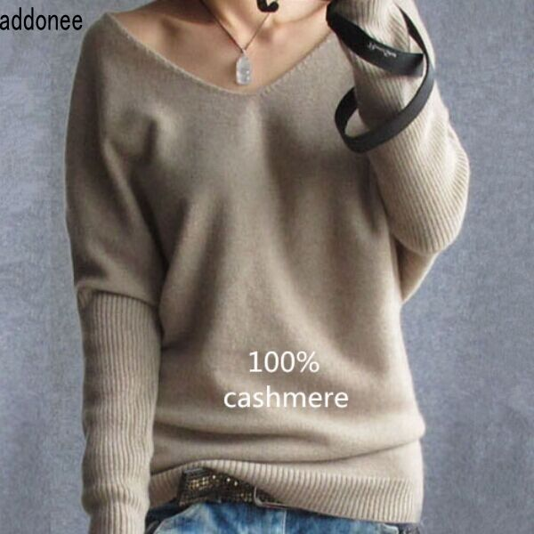Addonee 2017 Cashmere Wool Sweater Women Fashion Sexy V-neck Sweater Loose Sweater Batwing Sleeve Plus Size Pullover