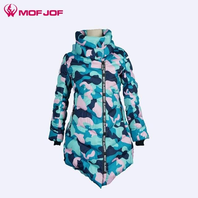 winter jacket women 2016 thick long sleeve mid-long camouflage parkas for women winter fashion Irregular coat
