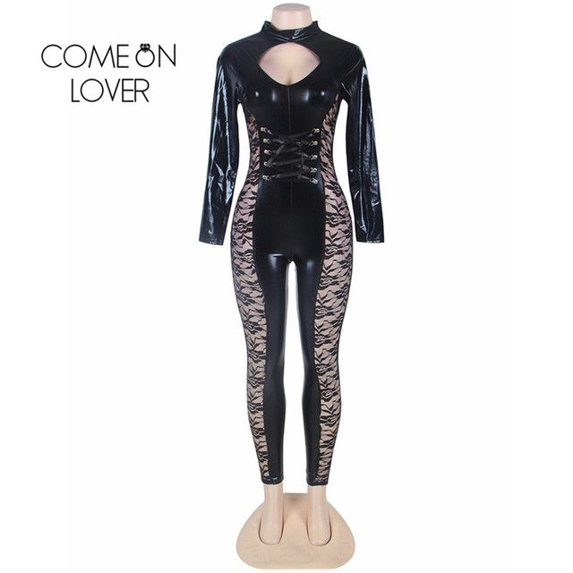 RI80219 Comeonlover Skinny Leather Faux Leather Bodysuit Lace Insert Floral Playsuits And Jumpsuits Long Sleeve Women Overalls