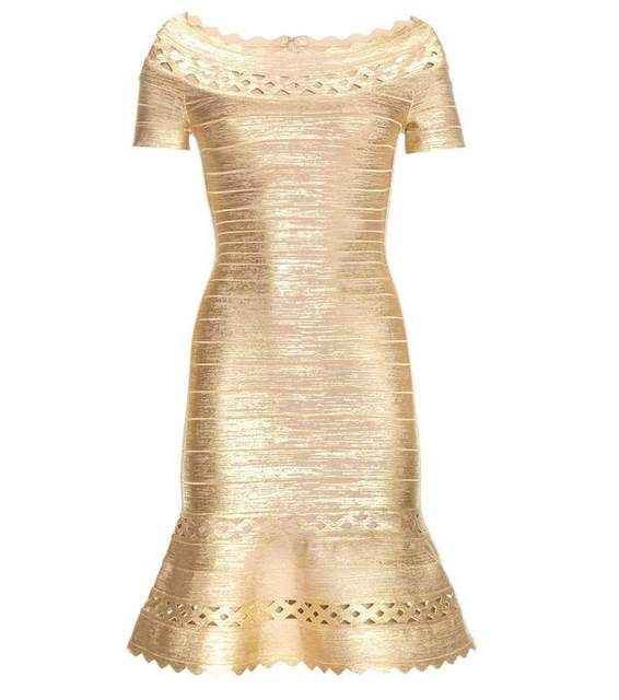 Spring 2016 New Fashion Rayon Dress Womans Foil Print HL Gold Bandage Dress