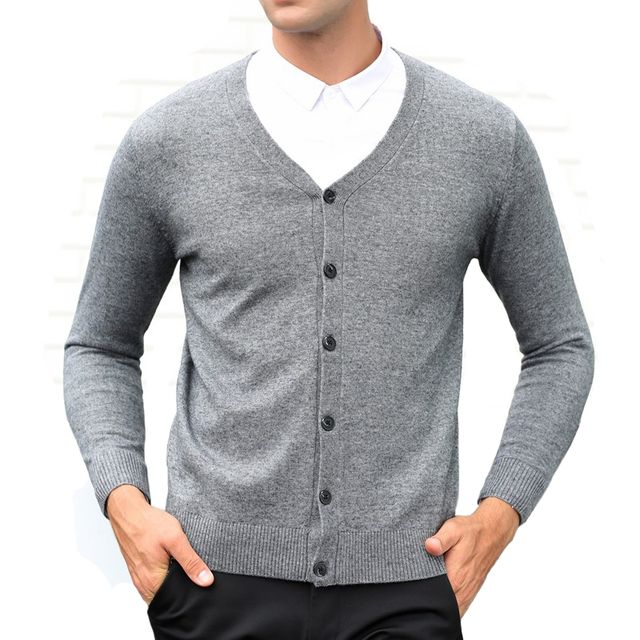 2018 Men's Casual Clothing Autumn and Winter Male V-neck Wool Woven Cardigans Men Mature Botton Fashion Sweater Waistcoat