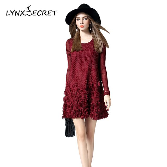 Women Winter and Autumn Mini Dress Above Knee Solid A-Line with O-Neck Collar Long-sleeve New Fashion Style For Female