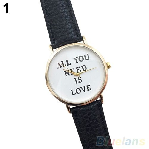 Women's Men's ALL YOU NEED IS LOVE Faux Leather Dial Analog Quartz Wrist Watch 2MZZ