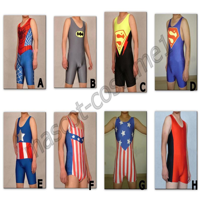 8 Color Lycra Spandex Zentai Wrestling Singlet Tights/Pants Costume Sportwear Bib shorts Suit S-XXXL
