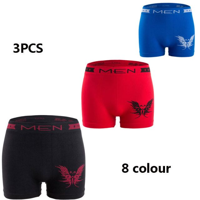 3PCS 2017New Polyester Cotton Butterfly Pattern Men's Underwear Flat Short Shorts Sexy breathable Mens seamless underwear boxers