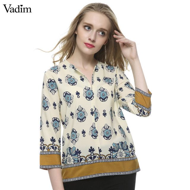 Women V neck vintage floral blouses three quarter sleeve shirts Blusas Femininas casual office wear tops plus size LT443