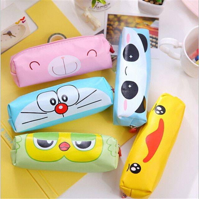 1 pcs Kawaii Yellow Duck PU Pencil Case Lovely Cartoon Panda Pen Bag For Kids Gift Korean Stationery