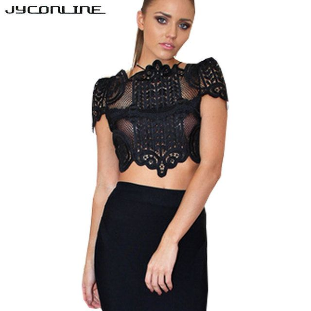 JYConline Sexy White Lace Blouse Shirts Women Tops Elegant Hollow Out Crochet Blouse Blusas 2017 Short Sleeve Shirts Female Tops