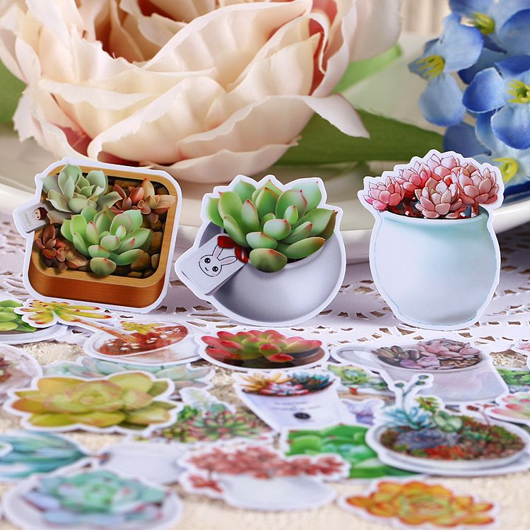 26pcs Self-made Succulent Plants Waterproof Scrapbooking Stickers DIY Craft DIY Sticker Pakc Photo Albums Deco Diary Deco