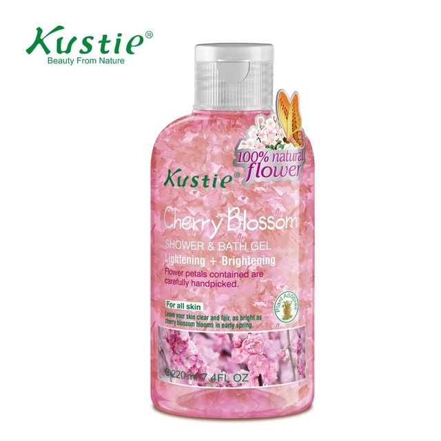 Kustie Body Wash Skin Brightening & Lightening Cherry Blossom Bath Gel 220ml  shower cream